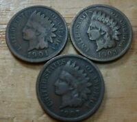 Three Assorted Indian Head Cents  1859 to 1909 #3ICA