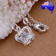 Stunning 925 Sterling Silver Princess Queen Crown Pendant Necklace Women's Gift