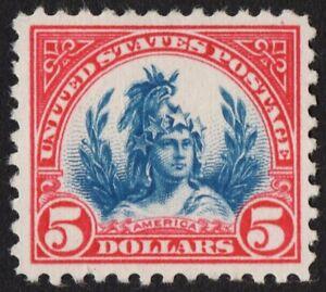 US Sc# 573 *UNUSED NG* { -XF- $5 FREEDOM STATUE } CARMINE & BLUE OF 1923 SERIES