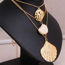 Gold Color Shell Pendants Necklace G Women Trendy Bohemian Style Multi layer