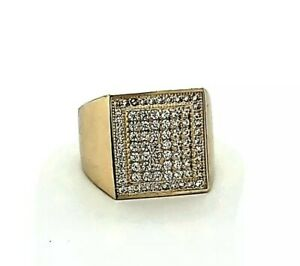 Size 10 Men's Pave Set Cubic Zircon CZ Pinky Ring Real Solid 10K Yellow Gold