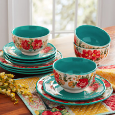 DINNERWARE SET 12 PIECE PLATES Dishes Bowls Vintage Stoneware Teal Service For 4