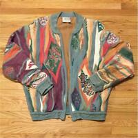 Vintage COOGI Cotton Knitted Sweater Jacket Size S Multicolor Made In Australia
