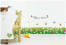 Wall Stickers Green Grass Wild Flowers and Butterflies Home Window Decoration