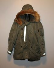 Winter Coat Dark Olive Green Size Medium? Real Fur Collar Womens Puffy Military