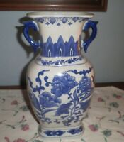 ANTIQUE CHINESE BLUE AND WHITE DECORATED FIGURAL AND FLORAL MOTIF PORCELAIN VASE
