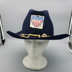 DeLuxe Quality Men's Fedora Rancher Wool Hat blue XL 7 1/2 soldier War Cosplay