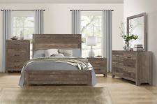 New Queen 5Pc Modern Rustic Brown Bedroom Set Farmhouse Furniture Qb/D/M/N/C