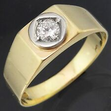 14k Solid Yellow GOLD Ladies SOLITAIRE or Mens SIGNET PINKY RING Sz P1/2