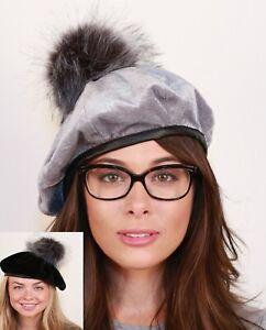Womens velvet beret cap snap fall winter warm hat