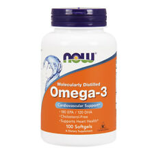 NOW FOODS Omega-3 Molecularly Distilled, Fish Oil 1000mg 180/120 md - 100 softg.