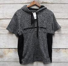 Brooklyn Xpress Mens S Marled Black Hooded Shirt with Zipper Embellishments New