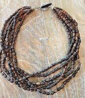 Silpada .925 Sterling Silver Palm Wood Bead Beaded Necklace RETIRED N1349