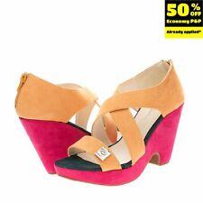 RRP€140 PIERRE CARDIN Clog Sandals Size 37 UK 4 US 7 Strappy Colour Block Heel