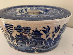 Antique Moriyama Blue Willow Made In Japan Covered Refrigerator Jar