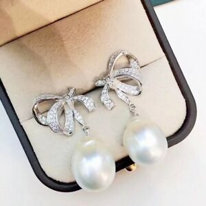 11-12 mm natural baroque  south sea white   pearl earrings