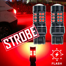 7443 7444 T20 High Power Strobe Flashing Red LED Bulbs For Brake Stop Tail Light
