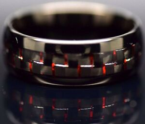 Mens Tungsten Carbide Ring Red & Black Carbon Fiber Dome Wedding Engagement Band