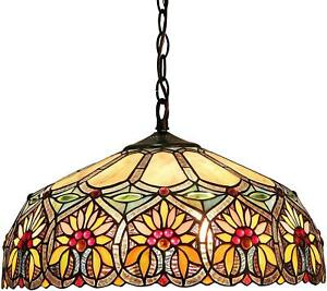 Tiffany Style Hanging Ceiling Pendant Floral Stained Glass Antique Bronze 18""