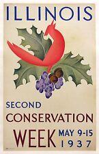 Illinois Conservation Week original vintage poster 1937 linen backed