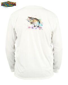 Simms Fishing Solar Tech Tee LS Shirt - M - Largemouth White - NEW DISCOUNTED