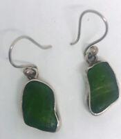 Beautiful Vintage UNIQUE Sterling Silver SEA GLASS Drop Dangle Earrings