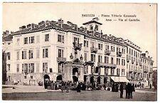 CARTOLINA 1908 SALUZZO PIAZZA VITTORIO EMANUELE ARCO VIA AL CASTELLO RIF. 11205