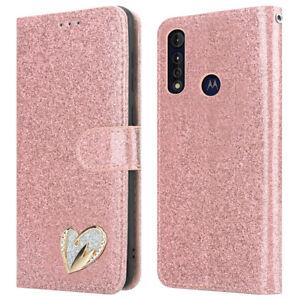 For Motorola Moto G8 Power Lite Case Shiny Leather Glitter Flip Wallet Cover