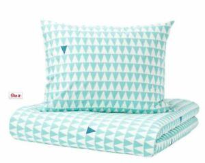 Ikea Stillsamt Single Duvet Set 150x200 cm 1 Pillowcase Tuquoise White Triangles