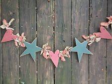 "PRIMITIVE 42"" Swag Wall Hanging Door Banister BARN STAR & HEART ONE OF KIND ❤️j8"