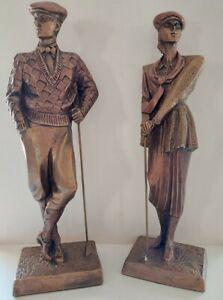 """Art Deco Austin Sculpture """"Golfer"""" by A. Daniel Male & Female 1989 1990"""