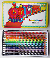RARE VINTAGE 80'S DREAMLAND 12 COLOR PENCIL SET TIN CASE DONG-A KOREA NEW NOS !