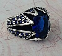 Turkish Unique  Sapphire Blue Gemstone 925 Sterling Silver Mens Ring Gemstone