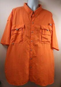 Columbia PFG Mens Fishing Shirt Orange Flap Pockets Vented Mesh Big & Tall 5X