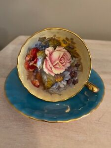 AYNSLEY TEACUP & SAUCER SIGNED J A BAILEY CABBAGE ROSE TURQUOISE BLUE