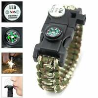 20 in1 Emergency Survival Paracord Bracelet SOS LED Camouflage Compass Bangle