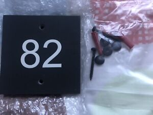 Number 82 Slate Door Sign 10cm Square New Fitting Kit