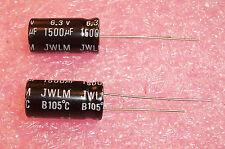 QTY (20)  1500uf 6.3V 105' LOW ESR LOW IMPEDANCE RADIAL ELECTROLYTIC 158JWL6R3M