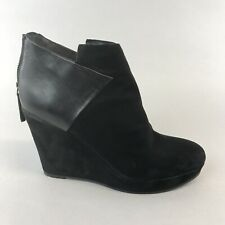 Mint Velvet Black Leather Suede Ankle Zip Up Wedge Booties Boots 40 UK7