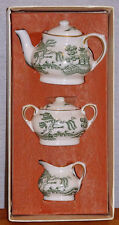 COALPORT CHINA WILLOW GREEN PATTERN MINI / MINATURE 5 PC TEA SET NEW IN BOX