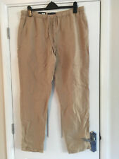"""BNWT M&S Collection Light Brown Peg Leg Linen Blend Trousers 16 Long Leg 31.5"""""""
