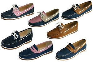 Womens Ladies Coolers Faux Nubuck Leather Loafer Boat Deck Shoes Sizes 4 - 8
