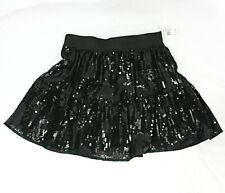 NEW Beautees Sequined Elastic Waist Skater Mini Skirt Black w Shorts - GIRLS L