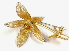 Vintage Gilded Gold On Silver Filigree ORCHID Brooch Pin