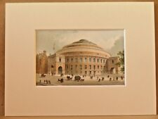THE ALBERT HALL LONDON VERY RARE ANTIQUE MOUNTED CHROMO 1889 SUPERB QUALITY