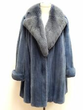 EUC Ice Blue MINK Fur Swing Coat with FOX Collar by Valentino (WOMEN'S) Size:18