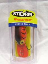 Storm 3/8 oz Fluorescent Red & Black Wiggle Wart Plug Lure Salmon Fishing