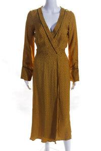 Bec & Bridge Womens Printed Belted Night Robe Yellow Black Size 2