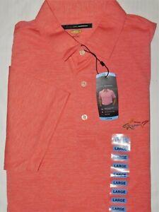 GREG NORMAN Playdry Polo Shirt Golf Moisture Wicking UPF Sun Protection Orange