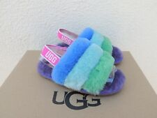UGG RAINBOW PRIDE FLUFF YEAH SLIDE SHEEPSKIN SANDALS, TODDLER US 10/ 27.5 ~NIB